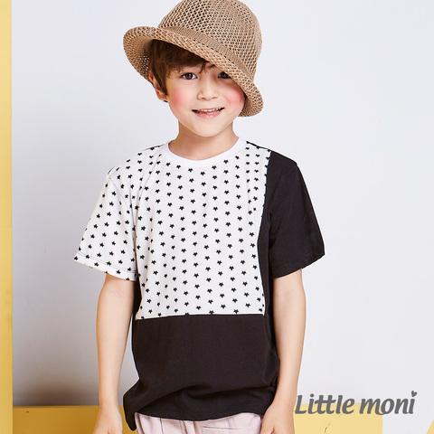 Little moni 閃耀星星拼接棉T(黑色)