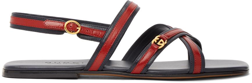 Gucci 海军蓝 & 红色 Interlocking G 凉鞋