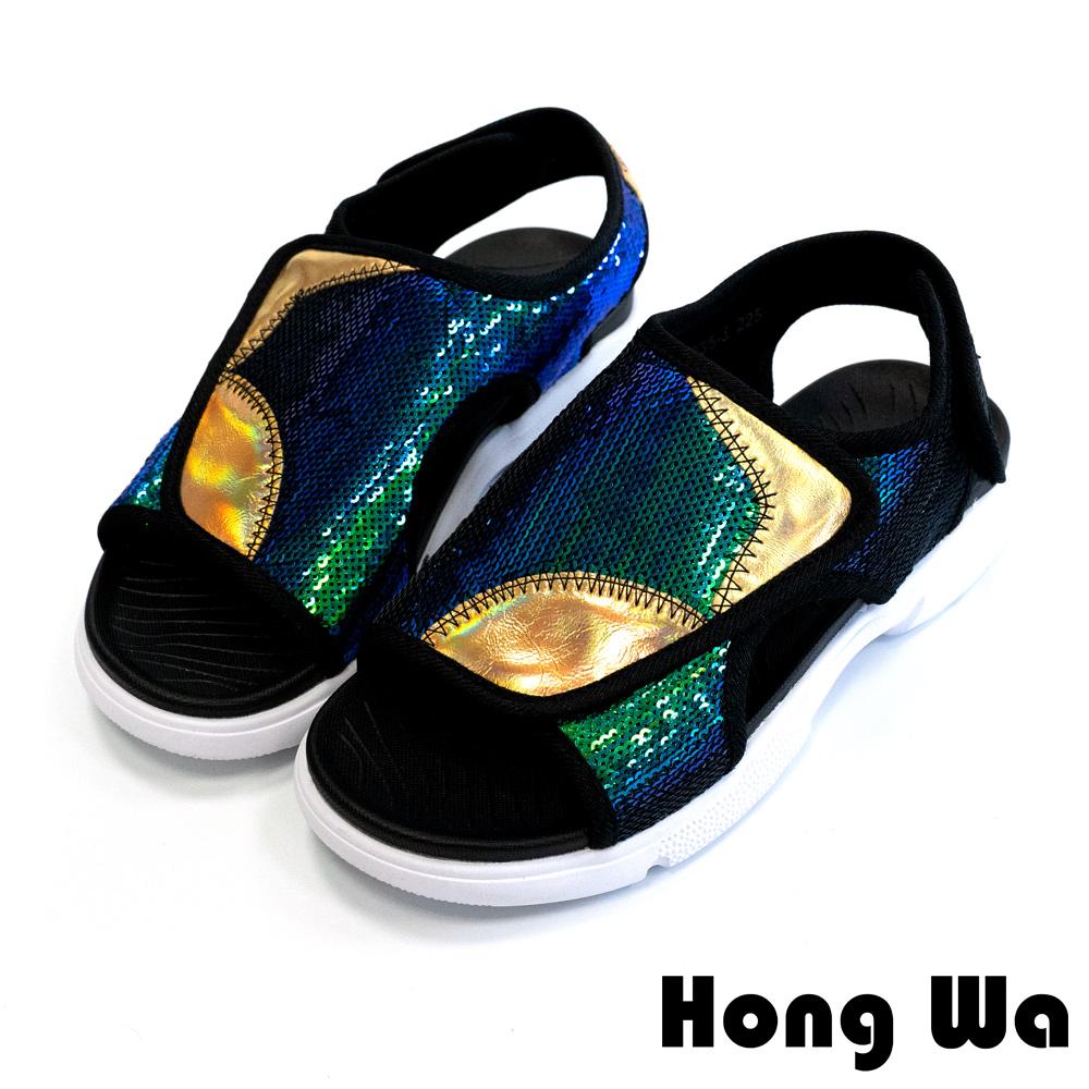【小腳福音】Hong Wa 翻玩設計‧特色拼接金屬皮懶人涼鞋 - 綠金