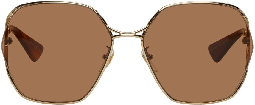 Gucci 金色六角形太阳镜