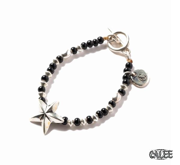 CALEE Silver Star Head Beads Bracelet威尼斯琉璃純銀五芒星串珠手鍊