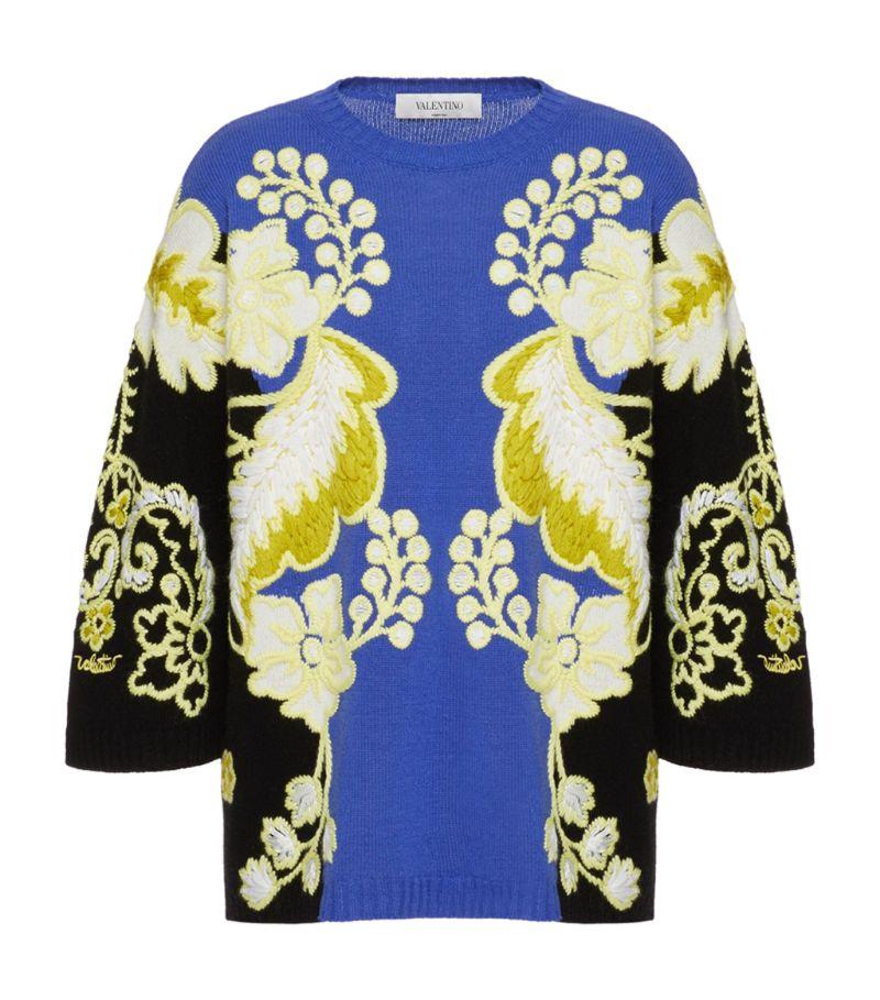 Valentino Wool-Cashmere Intarsia Sweater