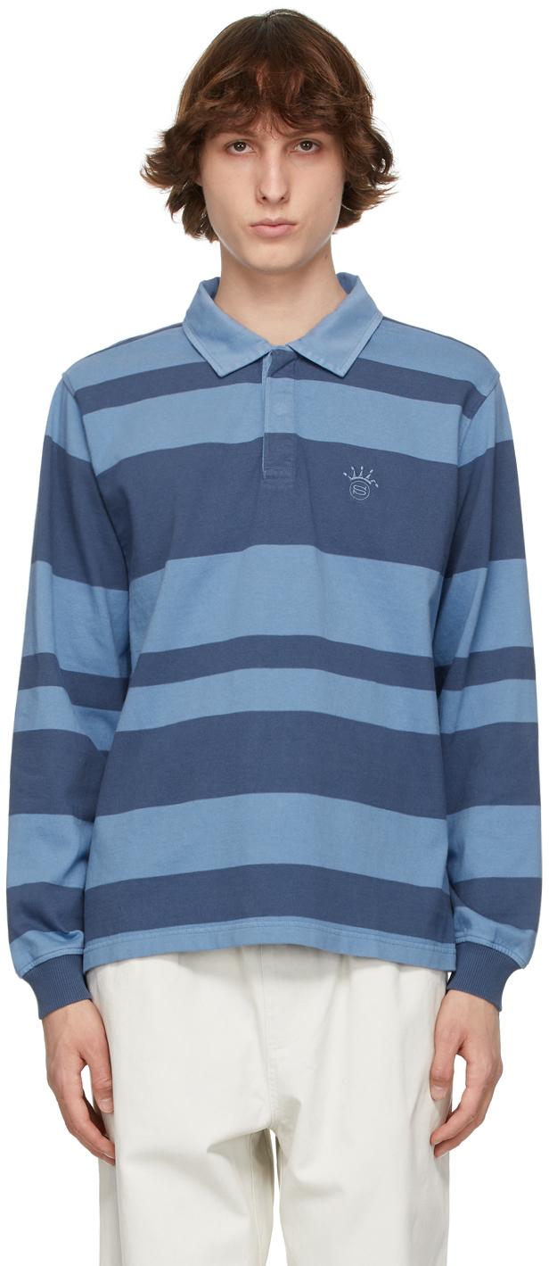 Stüssy 蓝色 2-Tone Rugby 条纹长袖 Polo 衫