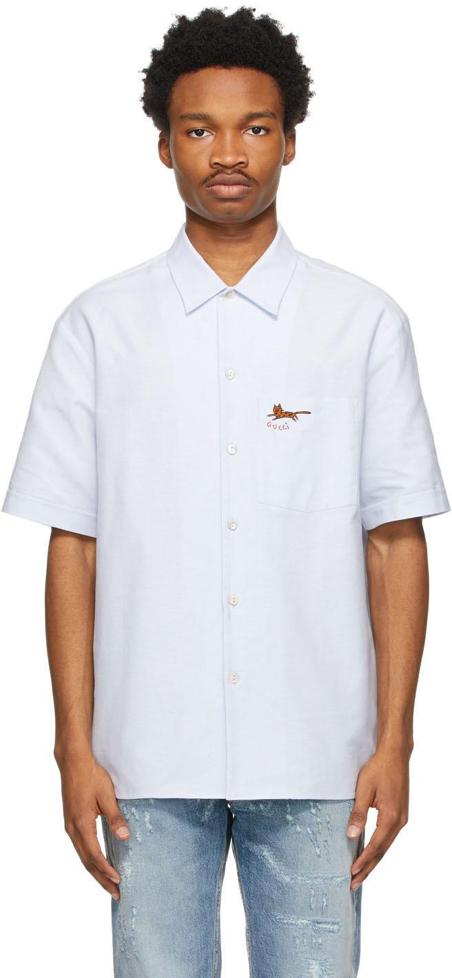Gucci 蓝色刺绣短袖衬衫