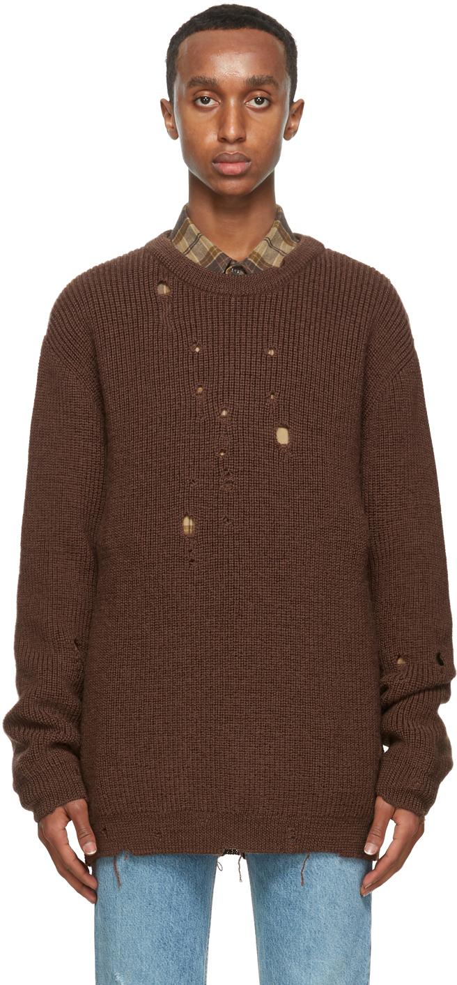 Gucci 棕色大廓形羊毛毛衣