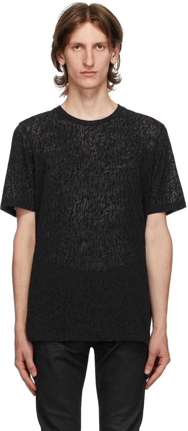 Saint Laurent 黑色圆领 T 恤