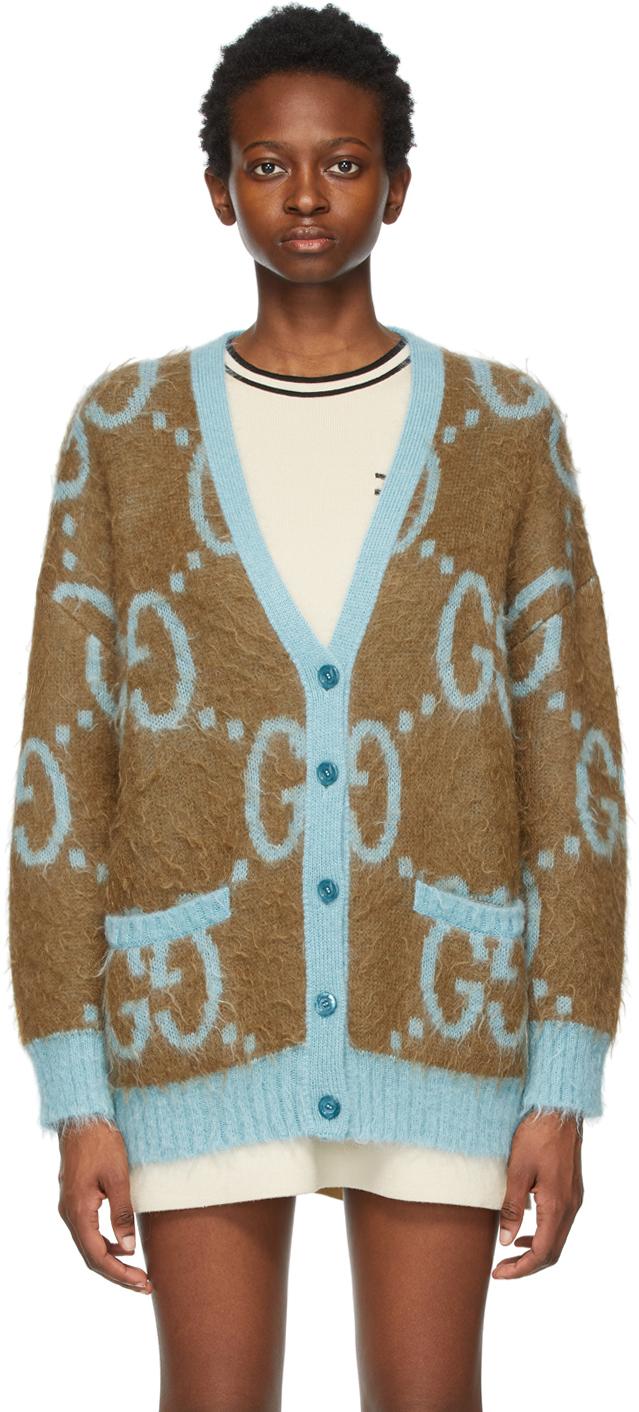 Gucci 棕色 & 蓝色 GG 大廓形双面开衫