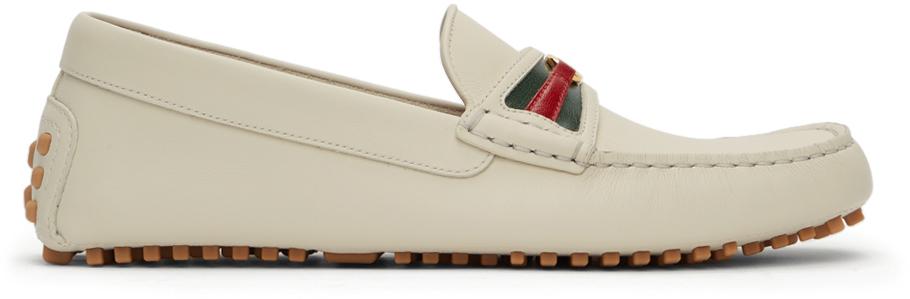 Gucci 灰白色 Driver Interlocking G 乐福鞋