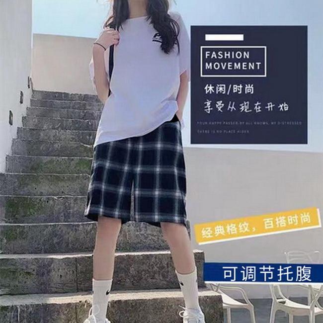FOFU-夏季孕婦短褲子休閒格子褲寬鬆大碼外穿闊腿褲五分褲薄款中褲夏裝【08SG06208】