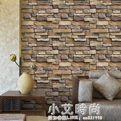 磚紋仿真石頭牆紙自黏防水陽台壁紙3D立體餐廳牆裙飯店裝修牆貼紙