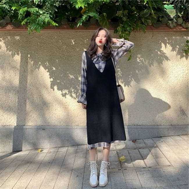 FOFU-法國設計款egg針織配長裙子秋冬娃娃兩件套裝法式復古連身裙女【08SG06203】