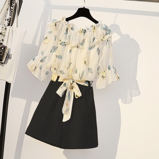 FOFU-大碼夏季胖妹妹時尚連身裙兩件套裝顯瘦遮肚網紅心機套裝【08SG06234】
