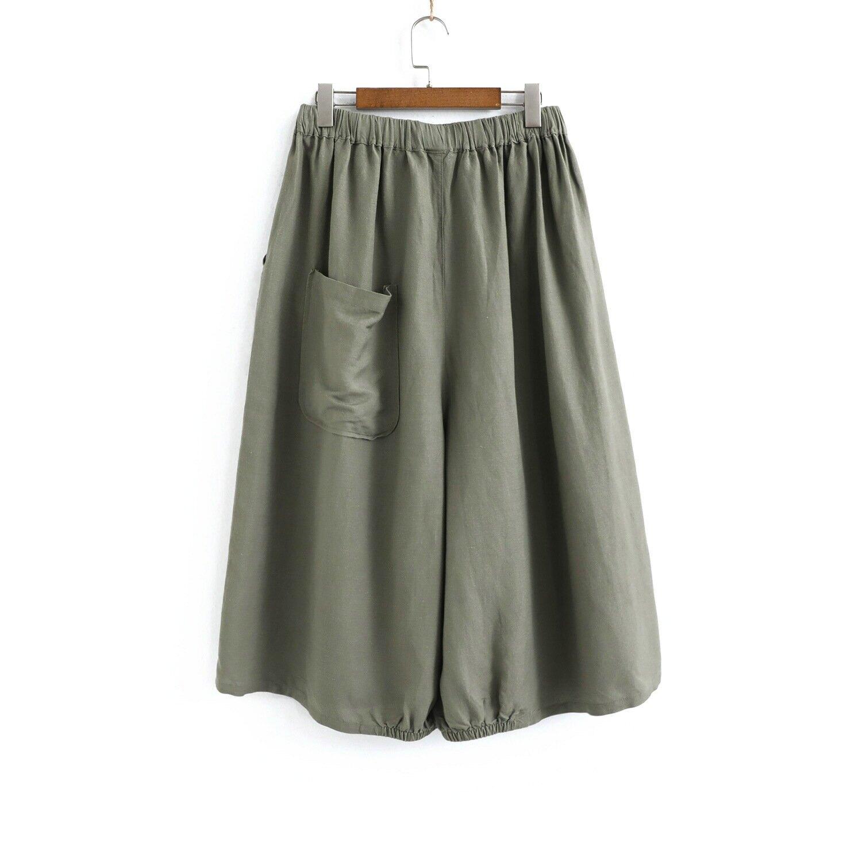 202-0061棉麻寬鬆闊腿裙褲女新款2020夏季腳口鬆緊純色舒適褲裙