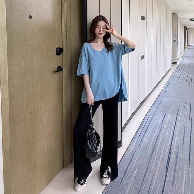 FOFU-夏季網紅可鹽可甜氣質休閒套裝女人味時尚小個子顯高闊腿褲兩件套【08SG06266】