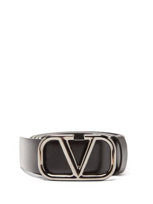 Valentino Garavani - V-logo Leather Belt - Mens - Black