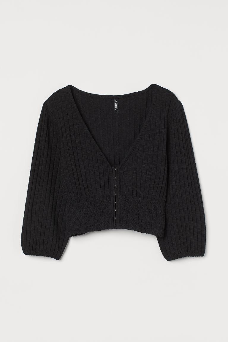 H & M - 短版上衣 - 黑色