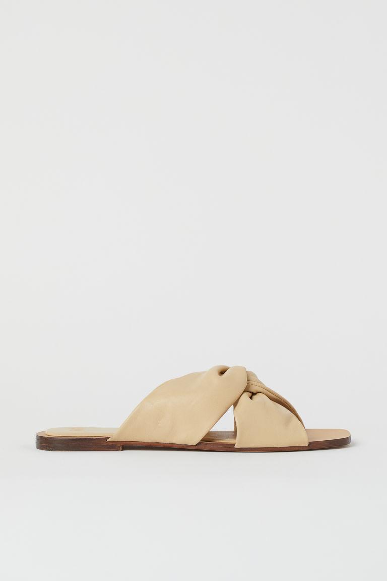 H & M - 真皮涼鞋 - 米黃色