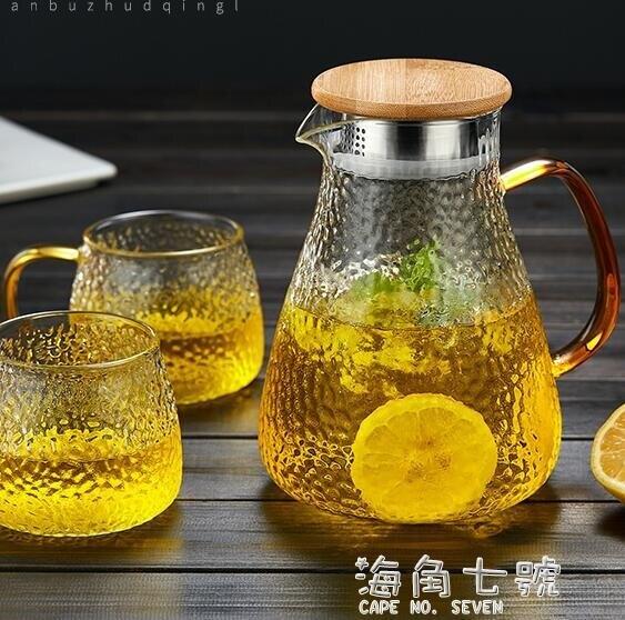 冷水壺玻璃水壺大容量涼水杯耐高溫涼杯開水壺茶壺家用套裝涼水壺