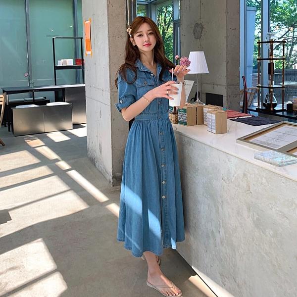 韓國製.雜誌款經典排釦收腰牛仔傘擺長洋裝.白鳥麗子
