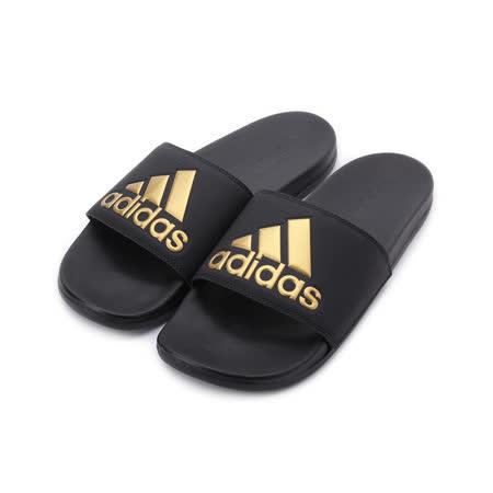 ADIDAS ADILETTE COMFORT 皮革運動拖鞋 黑金 EG1850 男鞋