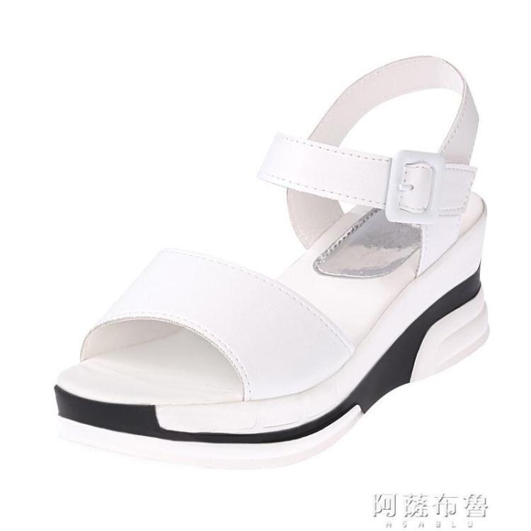 坡跟涼鞋 涼鞋女夏季新款女鞋坡跟鬆糕鞋厚底魔術貼平底休閒涼鞋女韓潮 四季小屋