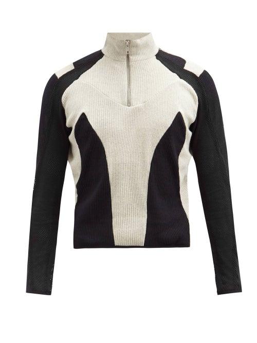 Gmbh - Atris Recycled-cotton Half-zip Sweatshirt - Mens - Black Grey