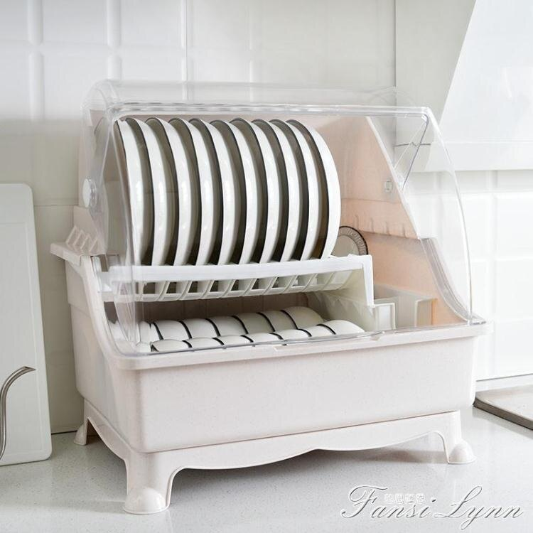廚房碗架瀝水架帶蓋放碗筷碗碟晾餐具置物架多功能收納盒碗柜家用