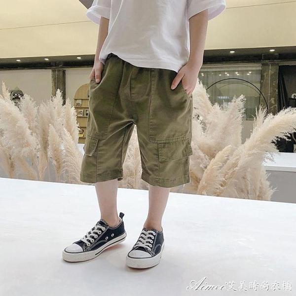 兒童工裝短褲2021新款童裝夏裝中大童休閒中褲韓版洋氣潮男童褲子 快速出貨