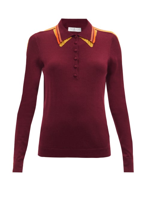 Gabriela Hearst - Manuel Striped Cashmere-blend Polo Sweater - Womens - Burgundy
