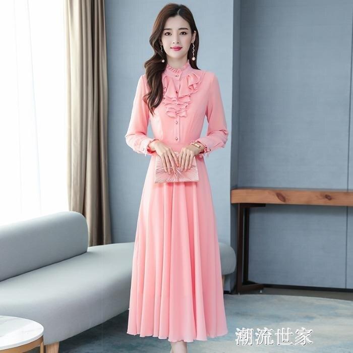 法式紅色立領連衣裙女春夏2020年新款過膝長裙顯瘦顯高氣質小紅裙「