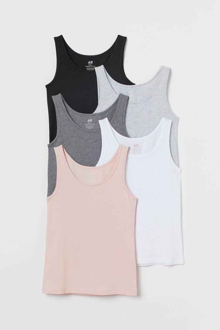 H & M - 5件入棉質背心上衣 - 粉紅色