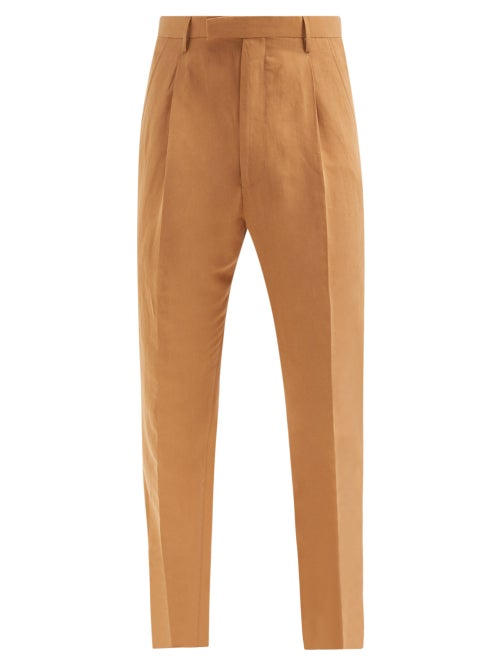 Umit Benan B+ - Andy Pleated Twill Suit Trousers - Mens - Brown