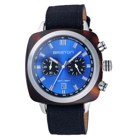 BRISTON CLUBMASTER 運動潮流雙眼計時腕錶-玳瑁X銀藍-16142.SA.TS.9.LSB