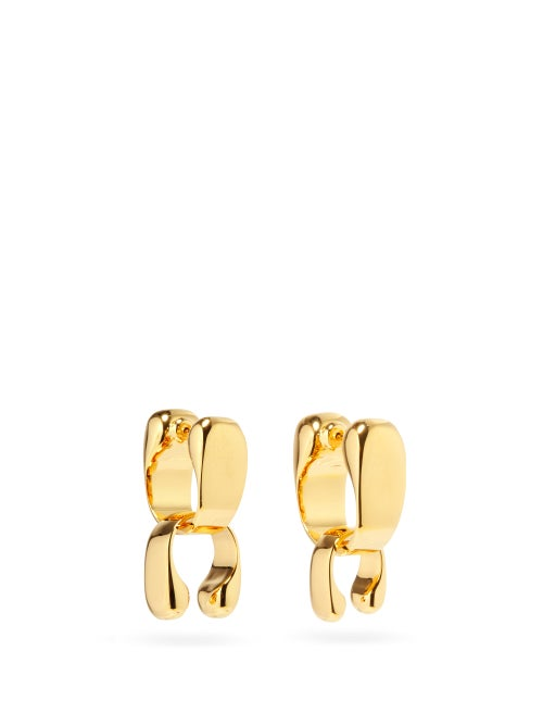 Jil Sander - Logo-engraved Cuff-drop Hoop Earrings - Womens - Gold