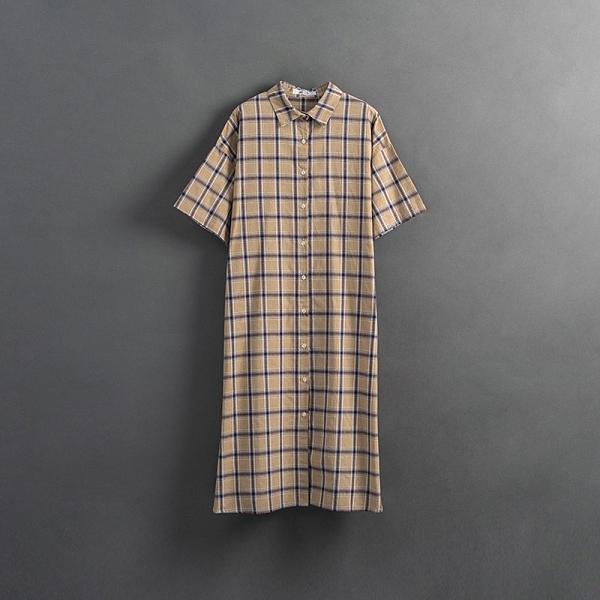 Queen Shop【01085440】女裝 親子系列 格紋棉麻襯衫洋裝*現+預*
