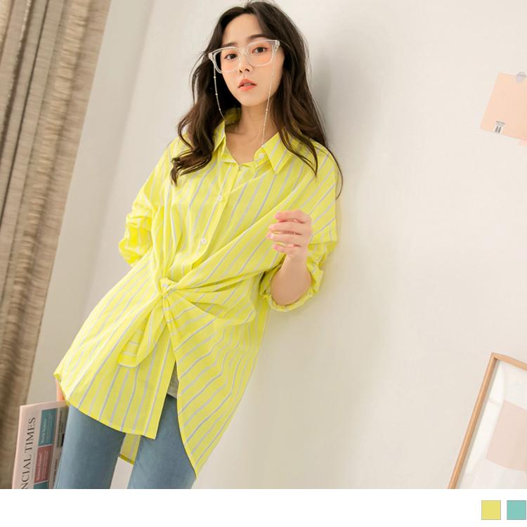 高含棉多WAY造型扭結排釦長版襯衫