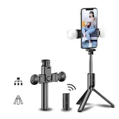 ANTIAN 雙補光燈手機藍牙自拍棒 三腳架+藍牙遙控 自拍神器 桌面直播支架 LED明肌補光燈 旅拍 70cm 通用