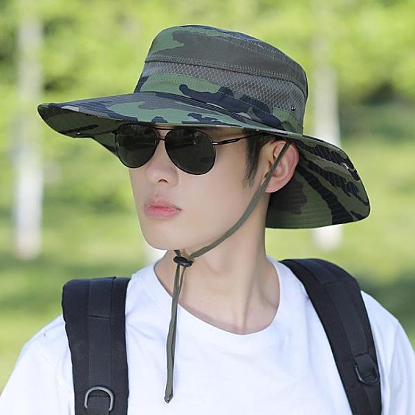 漁夫帽 漁夫帽男夏季帽子迷彩大檐遮陽帽戶外登山防曬太陽帽男士騎車旅游 寶貝