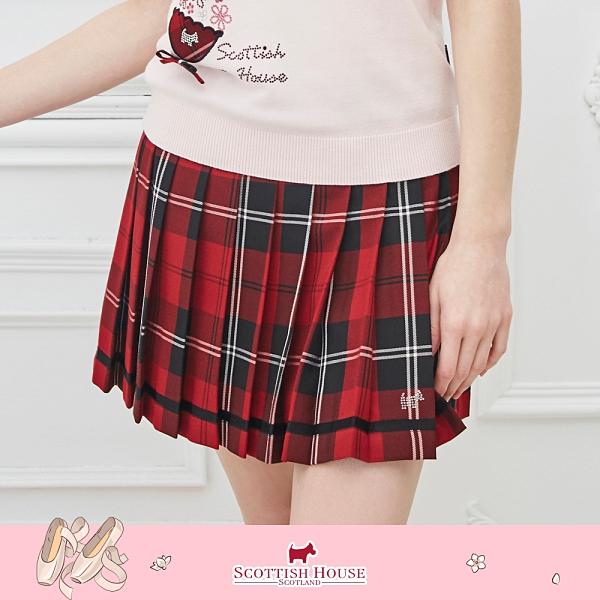 (紅黑格) 寬腰頭經典正格百褶裙 Scottish House 【AM2123】