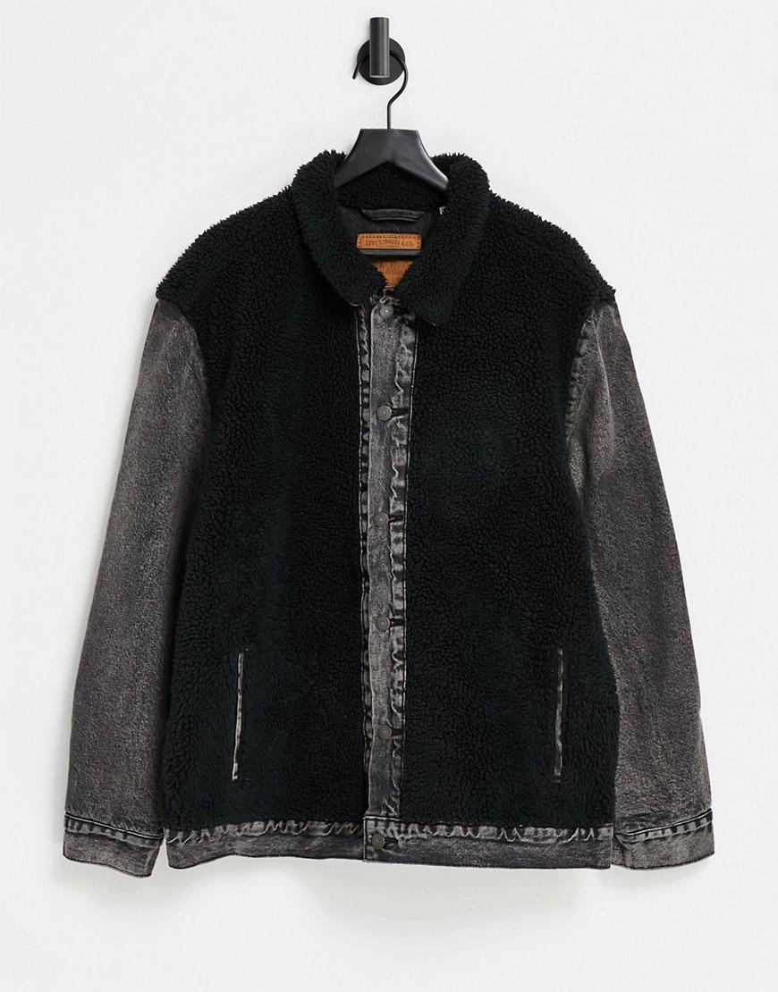 Levi's sherpa panel trucker jacket-Black
