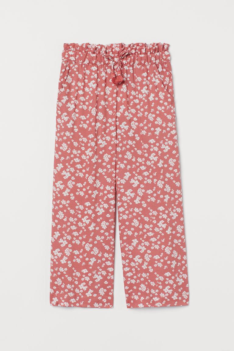 H & M - 印花寬管褲 - 紅色