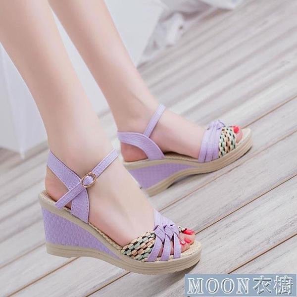 坡跟涼鞋慕致夏季新款韓版坡跟女涼鞋平底沙灘鞋女式學生鞋草編高跟鞋 快速出貨