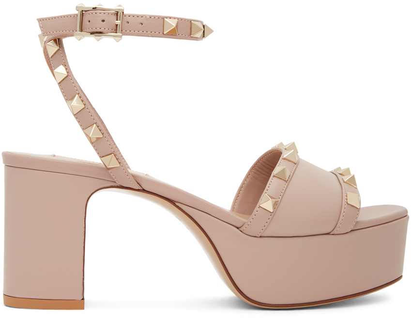 Valentino Garavani 粉色 Rockstud 凉鞋