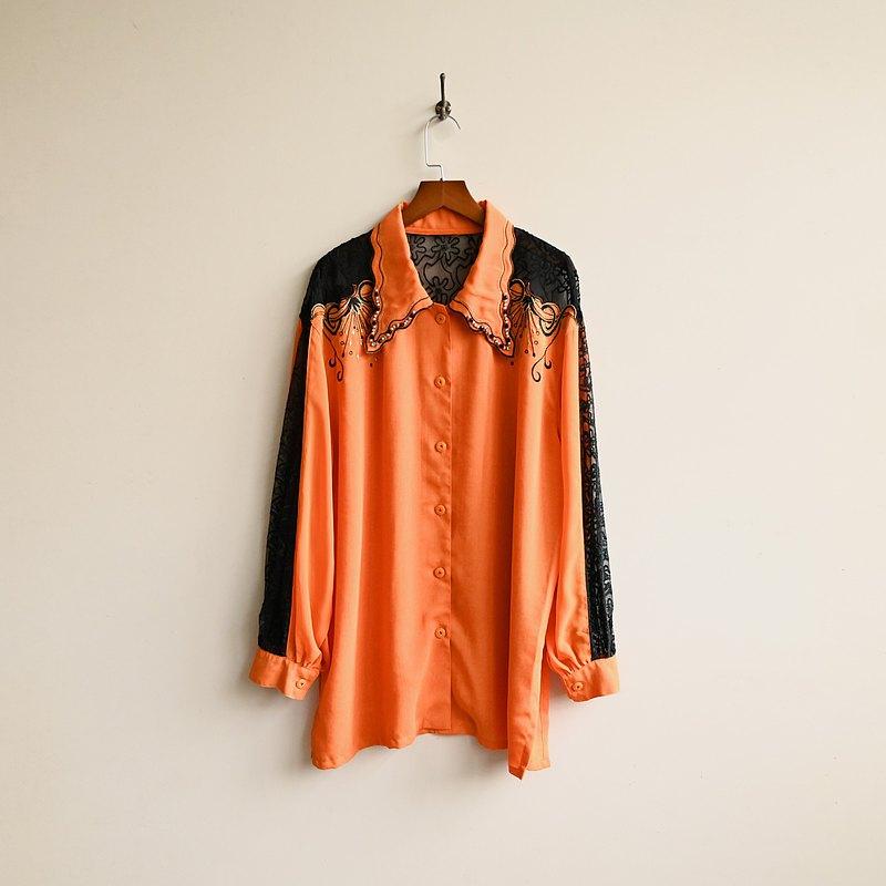 【蛋植物古着】橘子迪斯可蕾絲拼接寬版古著襯衫