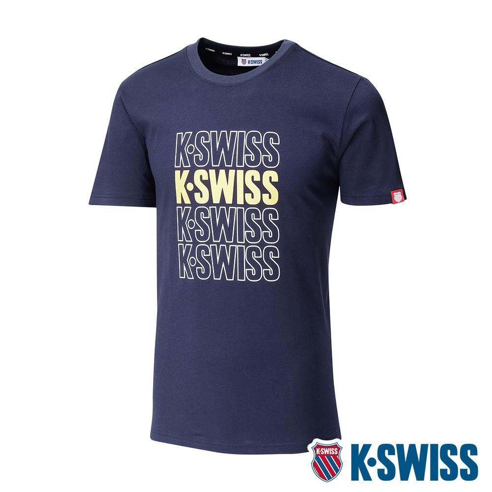 K-SWISS Modern Logo Tee棉質吸排T恤-男-藍