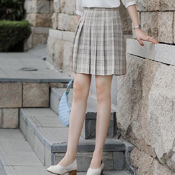 俏麗格紋迷你壓褶短裙 [21X063-PF]小三衣藏