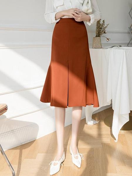 魚尾裙 不規則半身裙女夏2021年春裝新款高腰中長款a字魚尾裙子氣質半裙 韓國時尚週