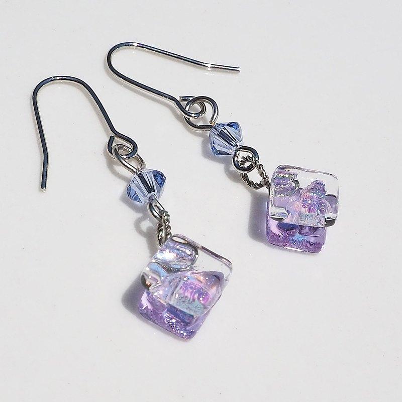 12月誕生石玻璃(坦桑石)耳環/耳環[長度可選] [金屬配件可選] [定做]
