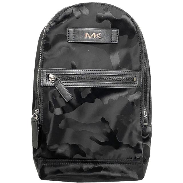 【Michael Kors】男款 銀字MK迷彩高密度尼龍輕量拉鍊後背包-迷彩黑