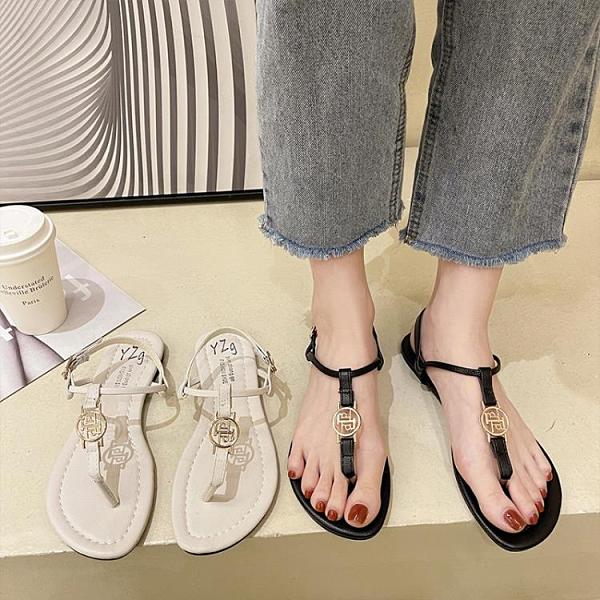 沙灘鞋 涼鞋女仙女風2021年夏新款夾腳趾小香風平底羅馬鞋波西米亞沙灘鞋 歐歐